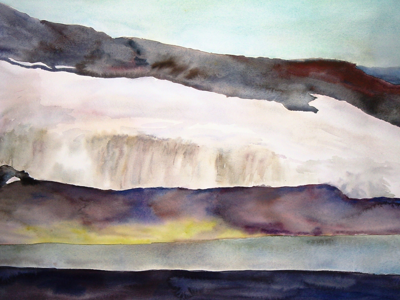 "Landscape with Lichen, Antarctica; 18x24"" watercolor painting by Lisa Goren"