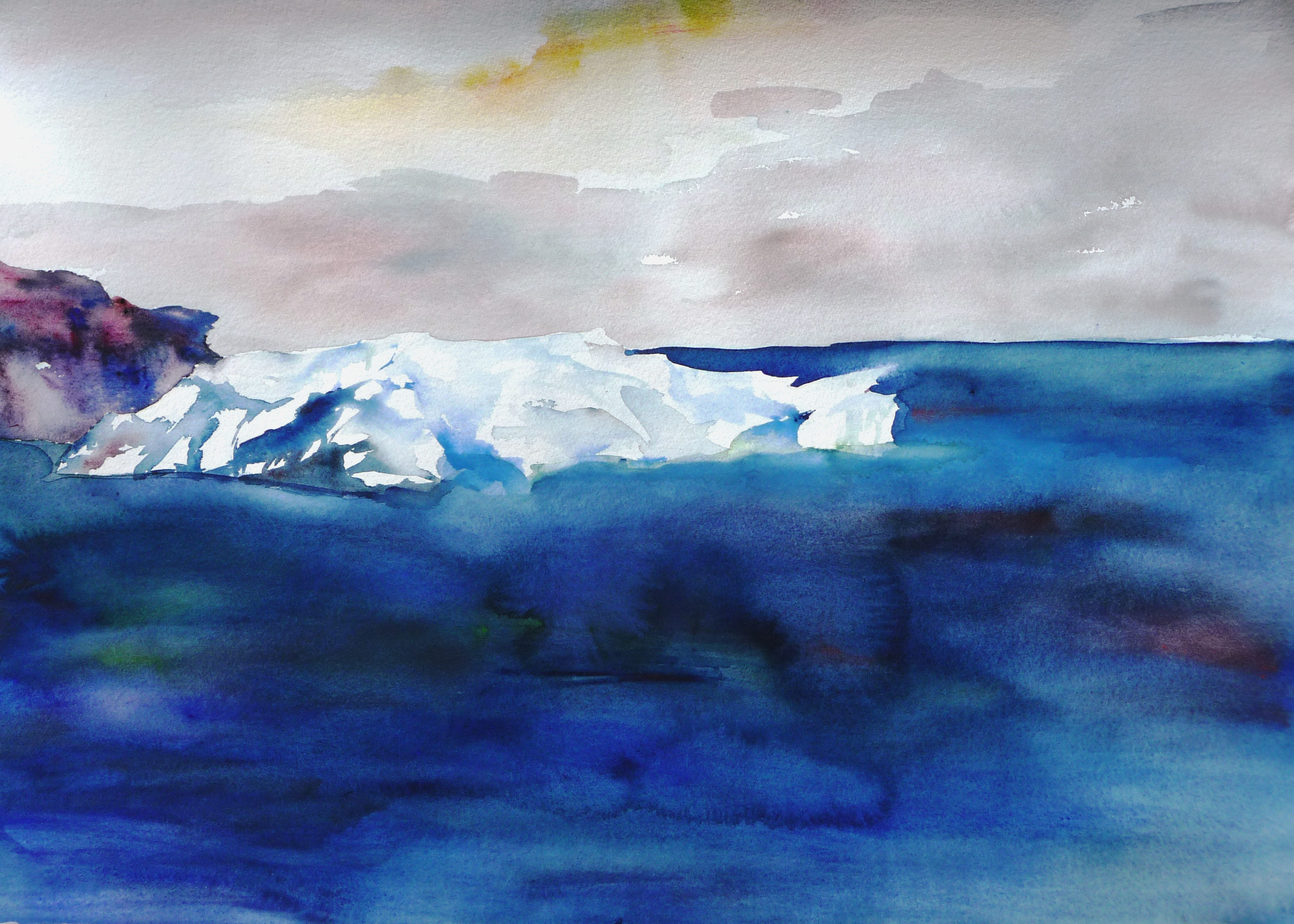 Antarctica Iceberg, watercolour painting by Lisa Goren