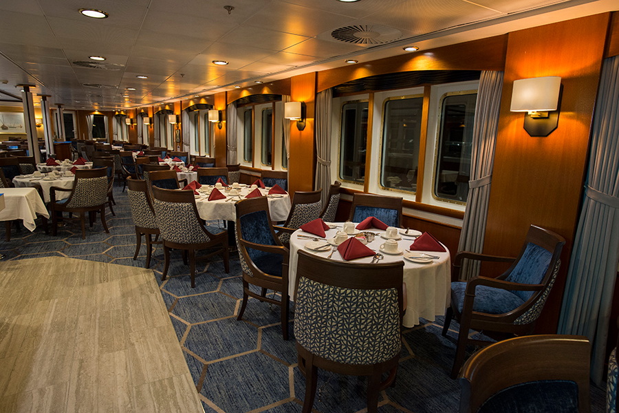 Ocean Adventurer's dining room, lounge, bar, gym and other public spaces have been completely refreshed and now offer travelers a contemporary backdrop from which to enjoy their spectacular views of the polar regions.