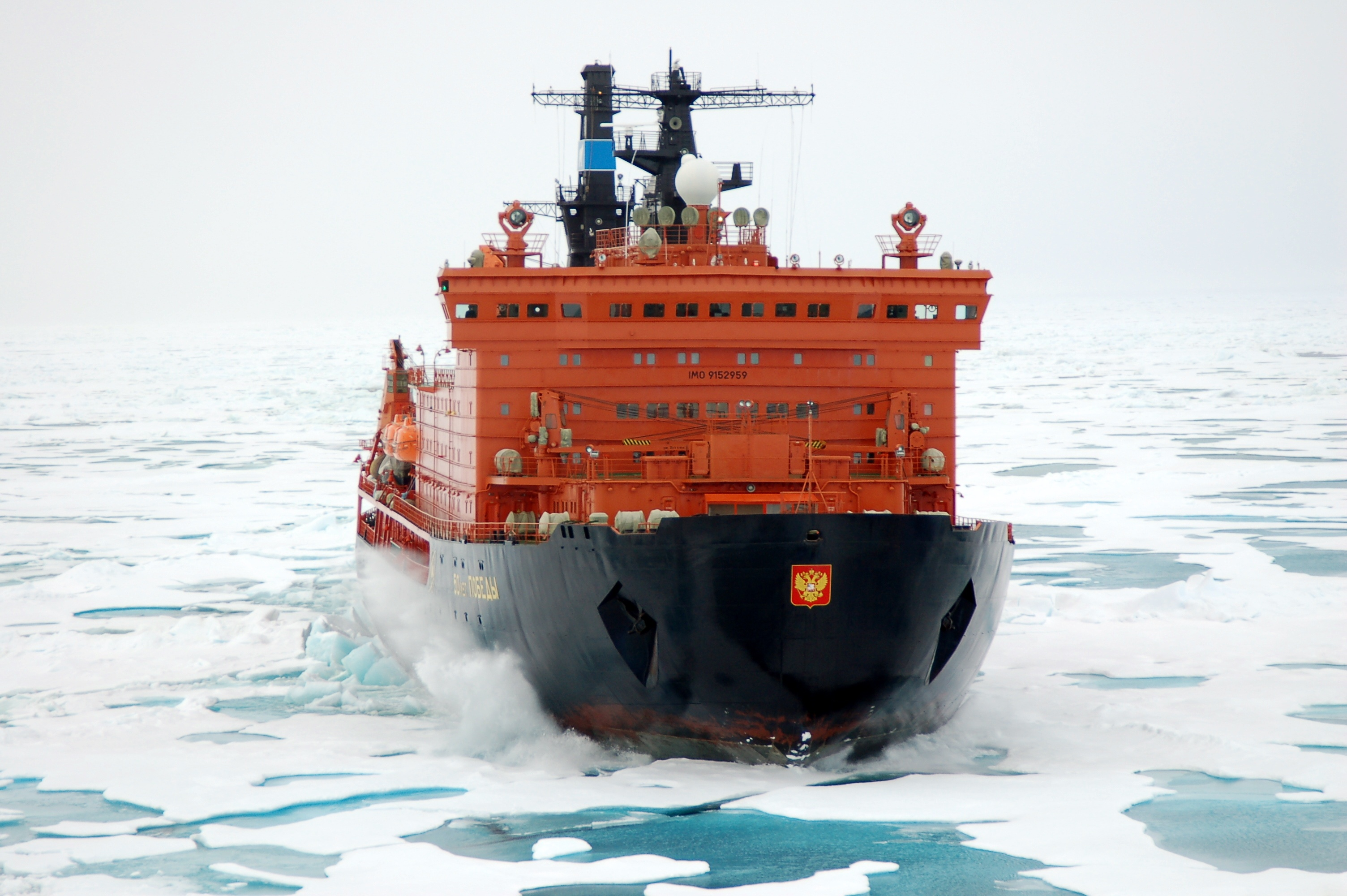 50 Years of Victory powers her way through thick, multi-year sea ice en route to the North Pole.