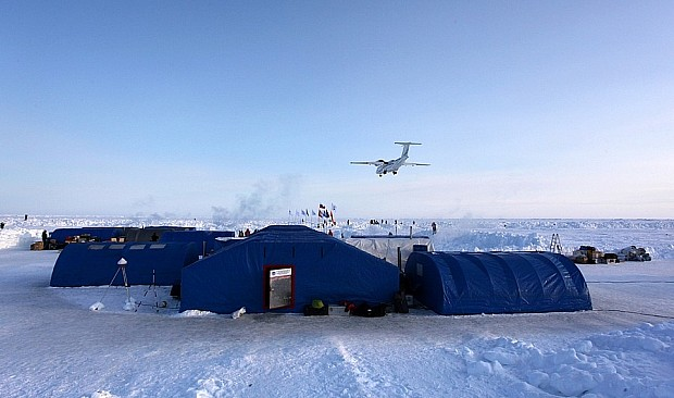 Plane landing at Barneo Ice Camp