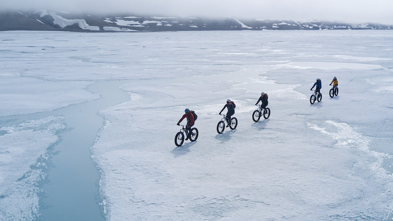 They may look a bit strange, but fat-tire bikes are great for traveling over shallow creeks, ice and snow, and rough arctic terrain. Photo: Arctic Watch Wilderness Lodge