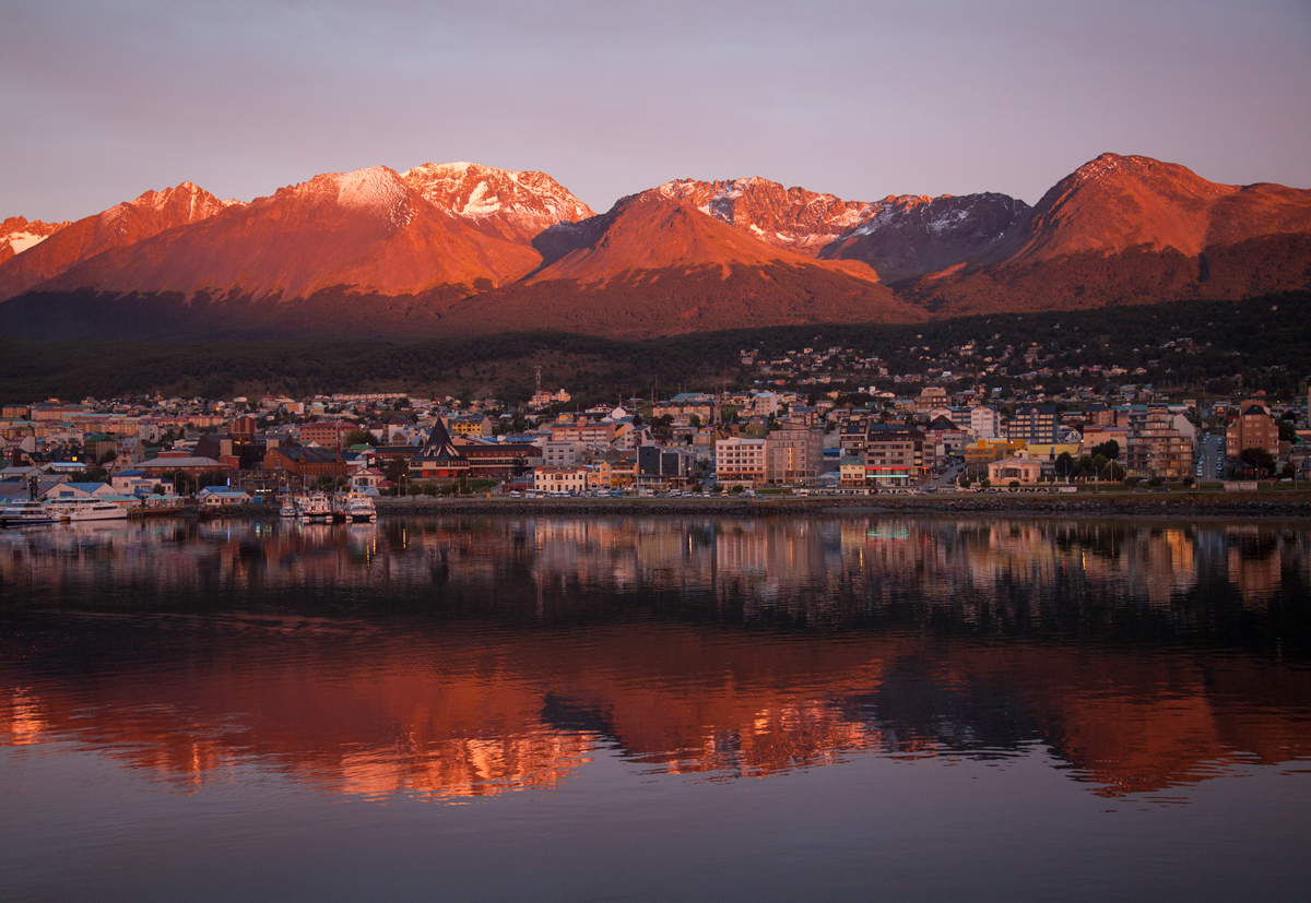 Views of Ushuaia during a sunset
