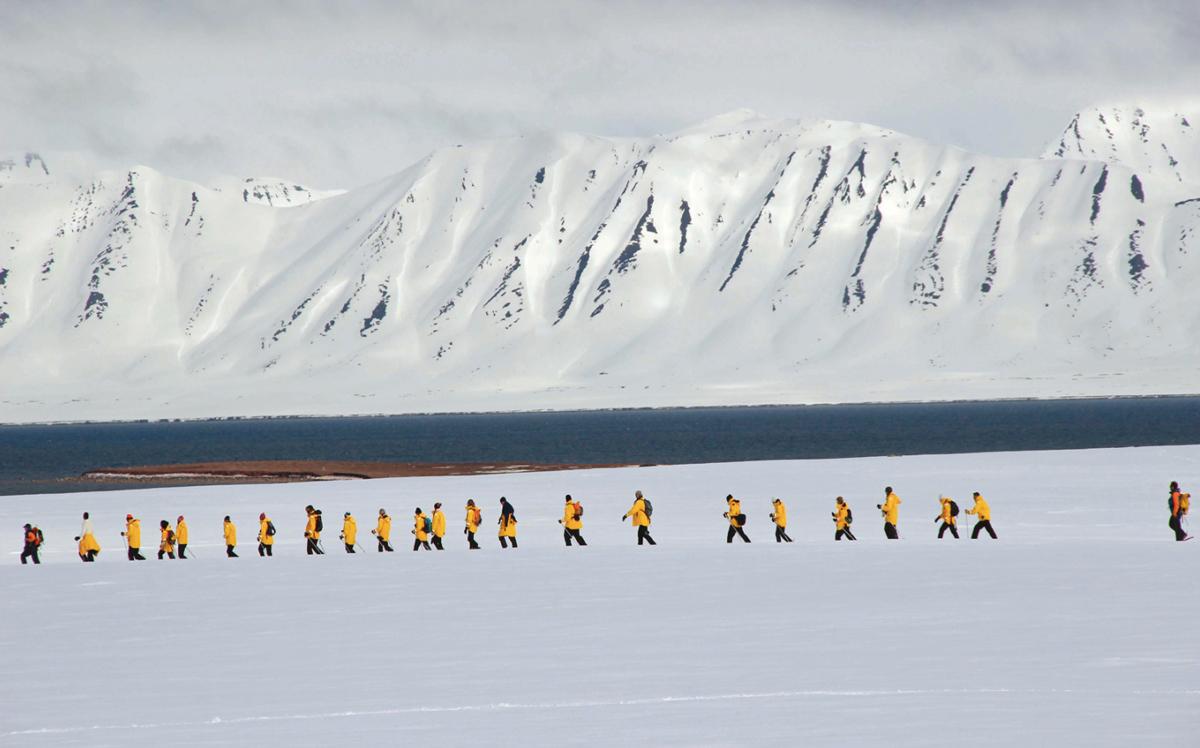 Quark passengers snowshoe the pristine Spitsbergen tundra