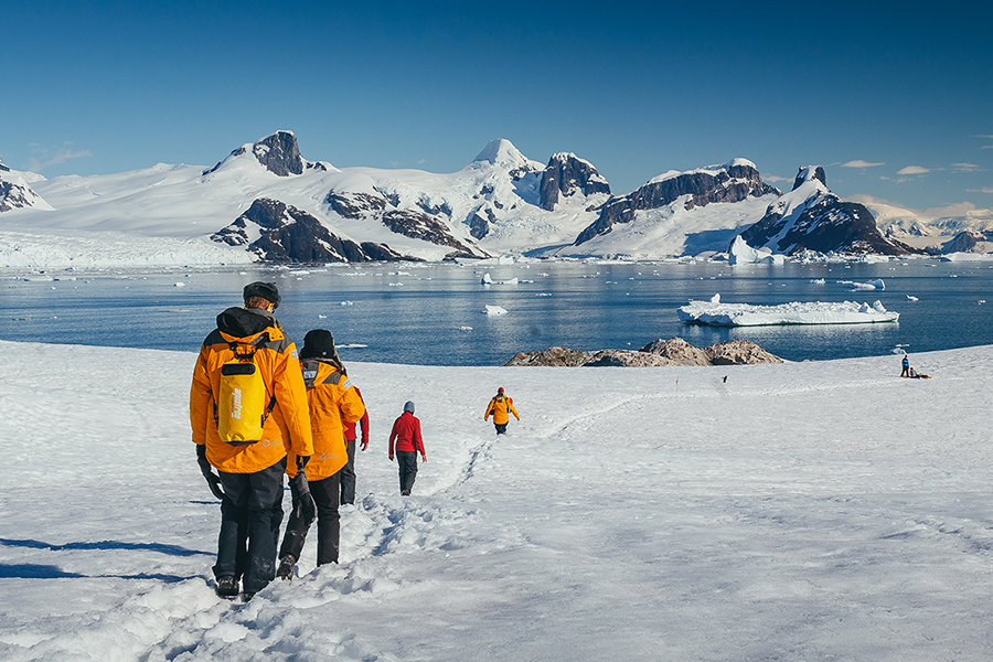 Passengers on a hike, during a landing on the Antarctic Peninsula