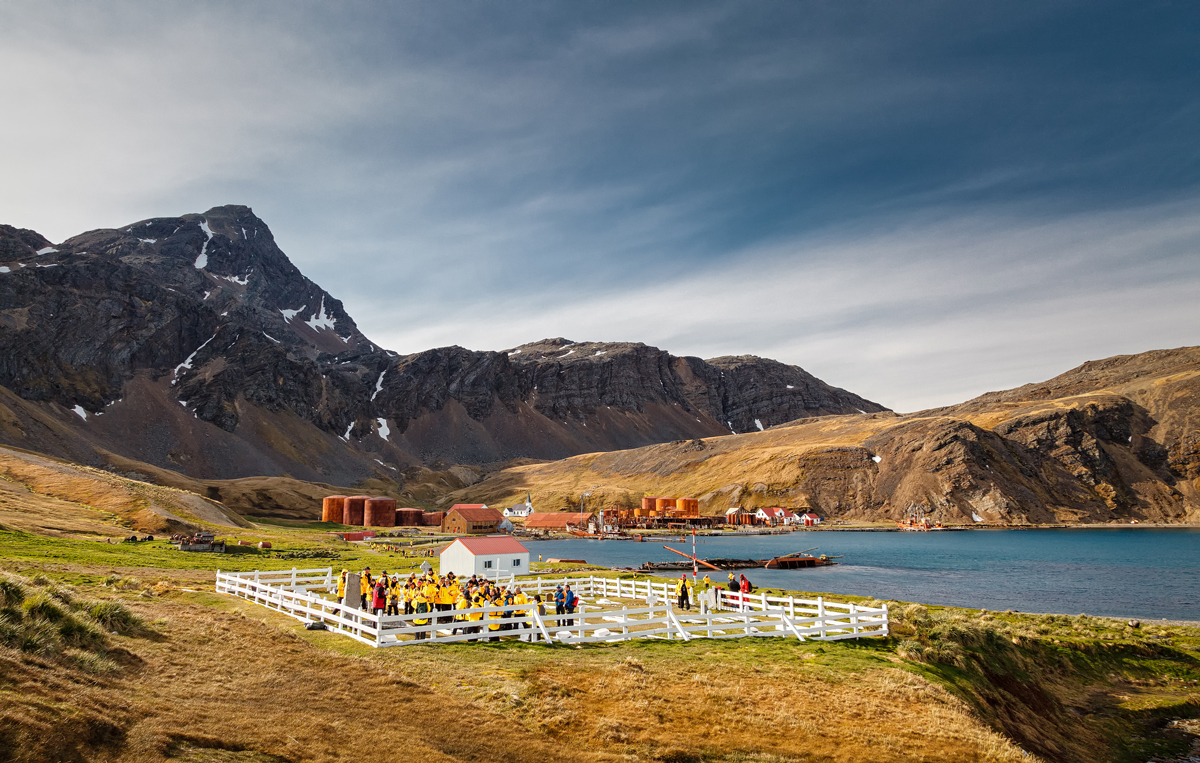 Quark Passengers pay their respects at Sir Ernest Shackleton's grave at Grytviken, South Georgia