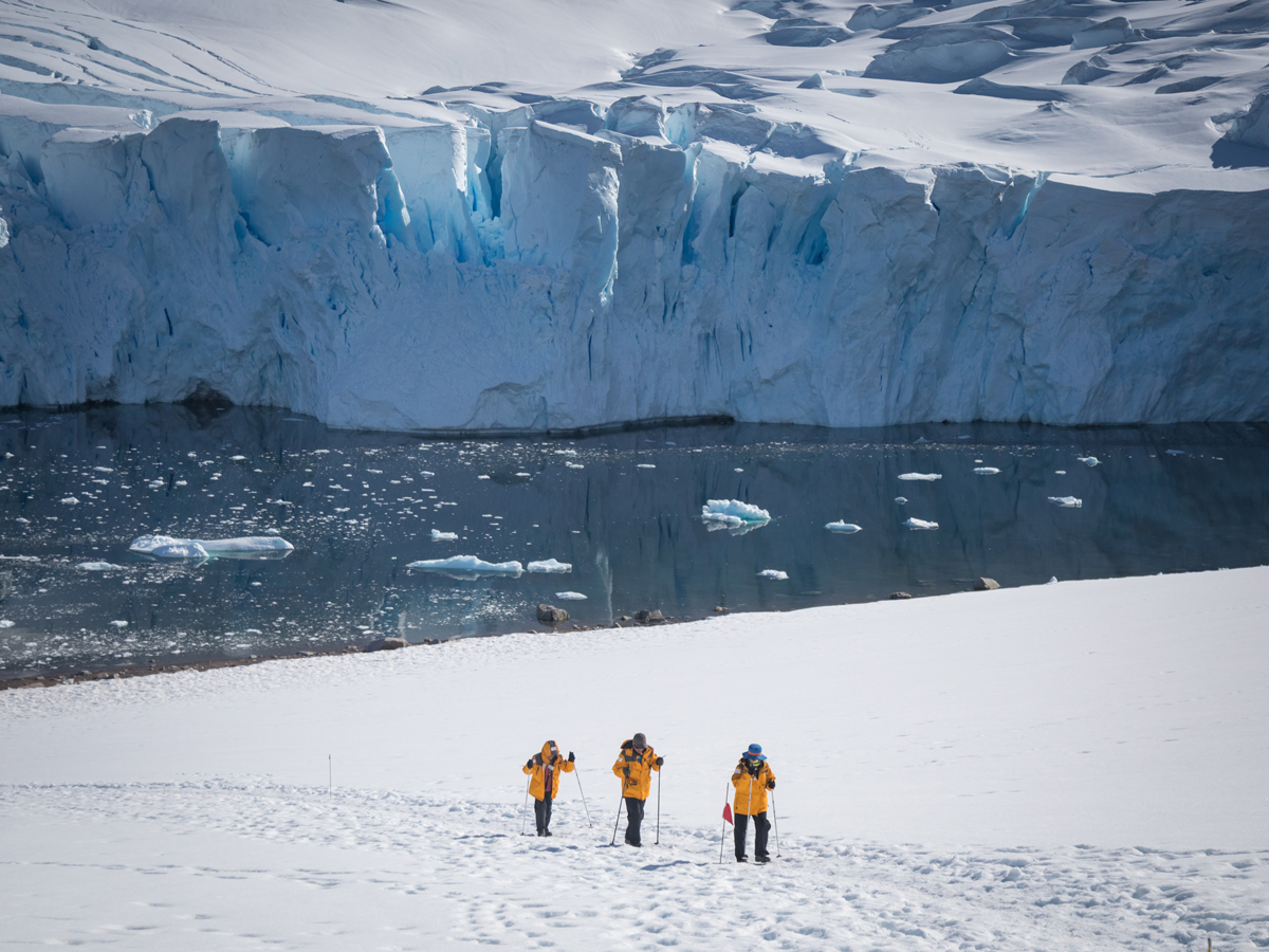 Passengers pictured hiking at Neko Harbour, Antarctica. Photo by Acacia Johnson