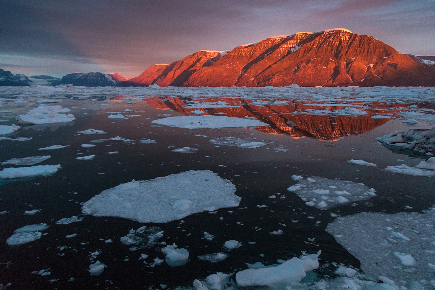 Colorful sunrise in East Greenland. Photo by Acacia Johnson