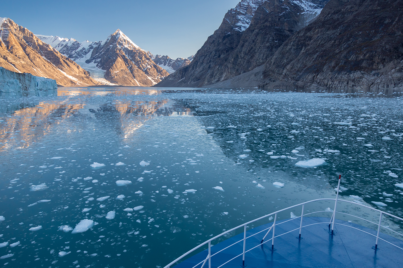 The Ocean Nova navigates the glacial ice of Alpefjord, East Greenland. Photo by Acacia Johnson