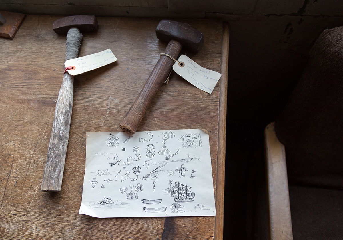 Picture of Hammers used during Lauge Koch's expedition to Ella Island, 1931-1934. Photo by Acacia Johnson