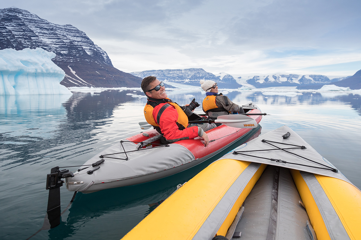 POV of Quark Expeditions passengers Andy and Africa enjoying their Paddle Excursion Program.