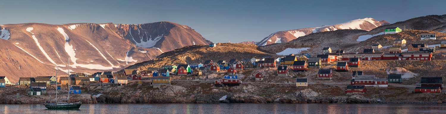 Panoramic view of Ittoqqortoormiit, East Greenland. Photo by Acacia Johnson