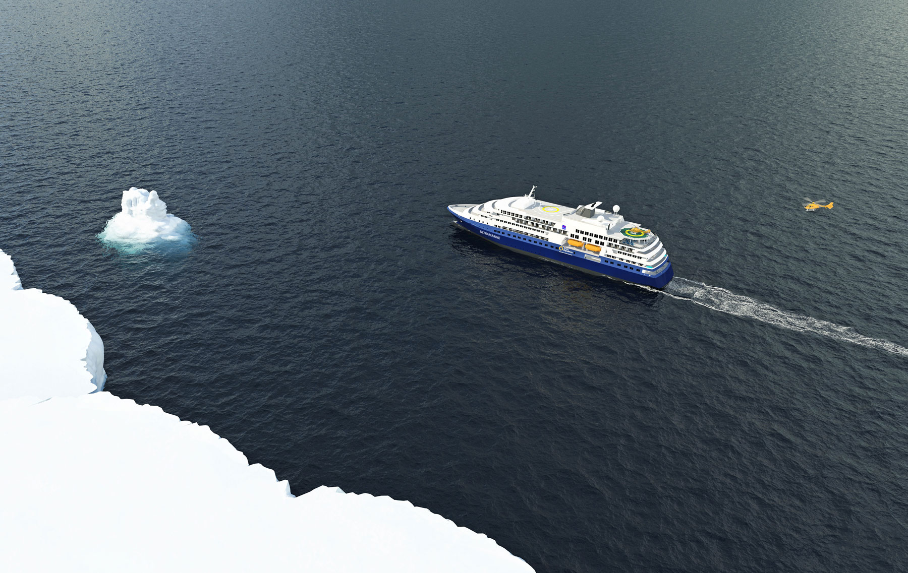 Ship (Ultramarine) rendering from the air.