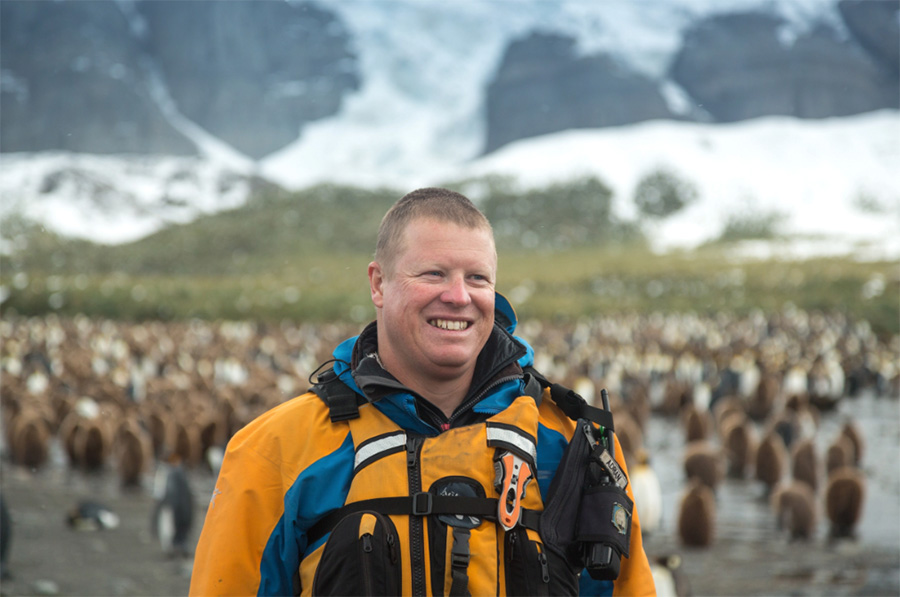 Ornithologist and Expedition Guide Adrian Boyle pictured Gold Harbour