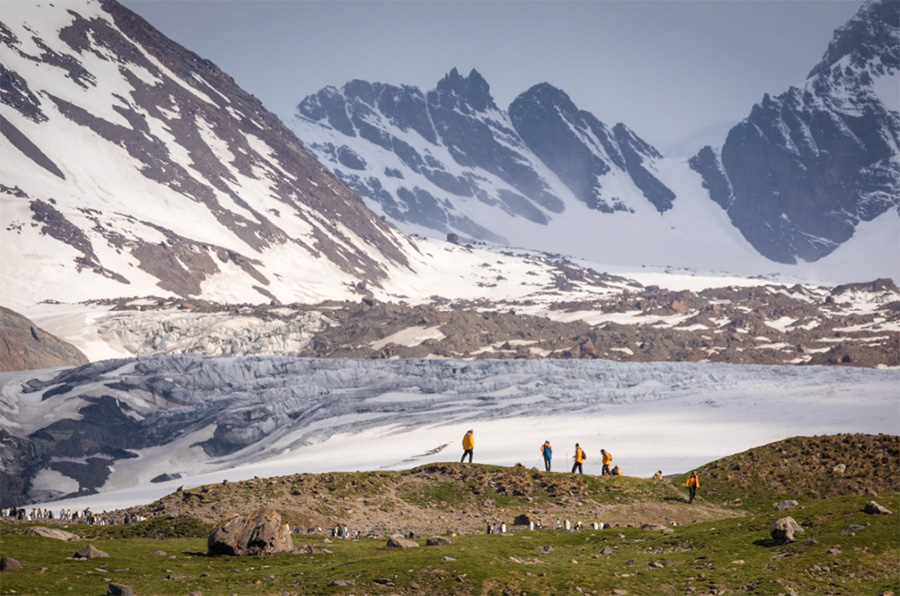 Guests pictured hiking at St. Andrew's Bay, South Georgia