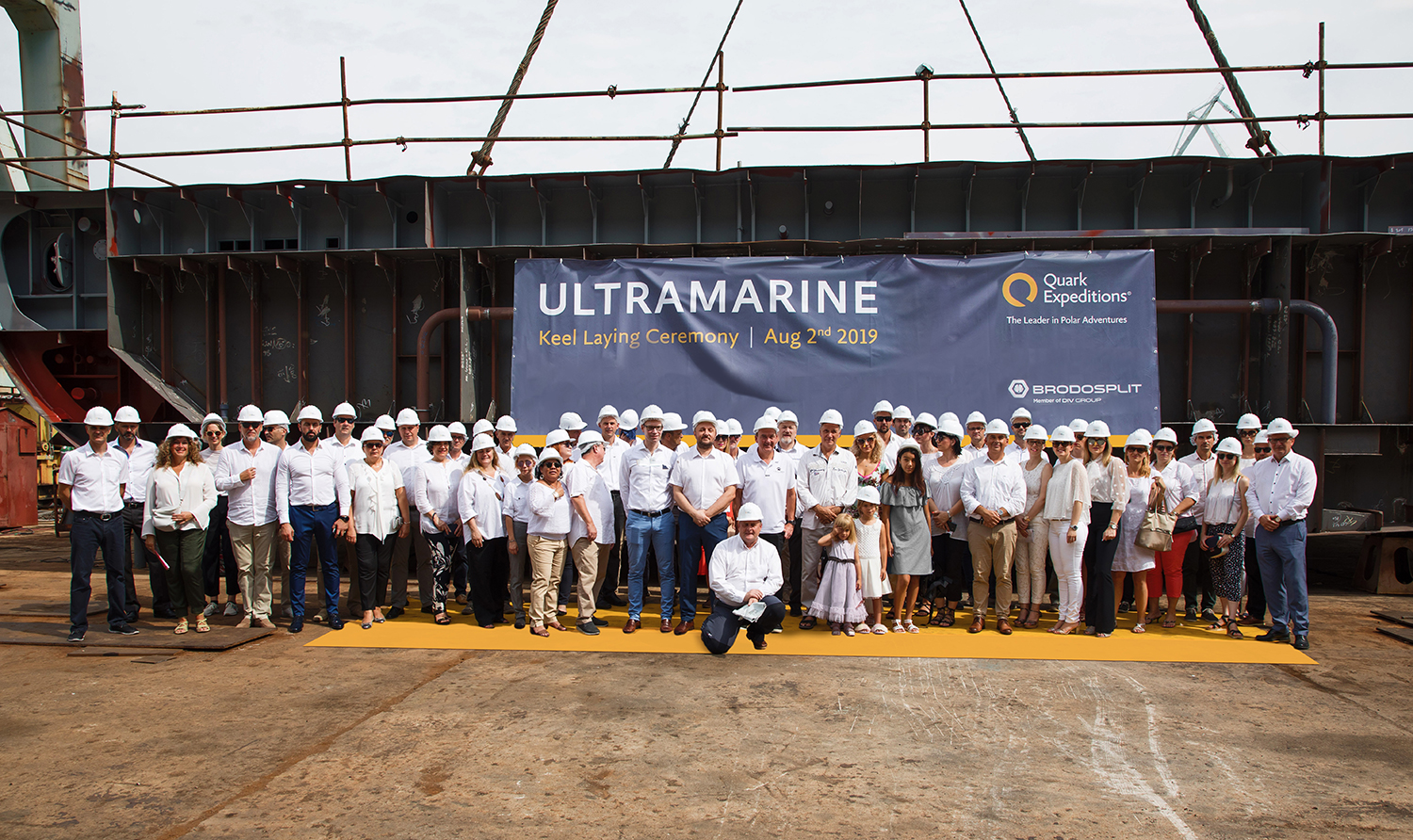 A group photo of all guests invited for the keel laying ceremony