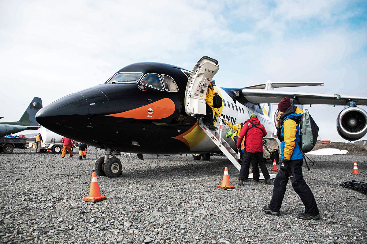 Plane with Penguin Livery in Antarctica