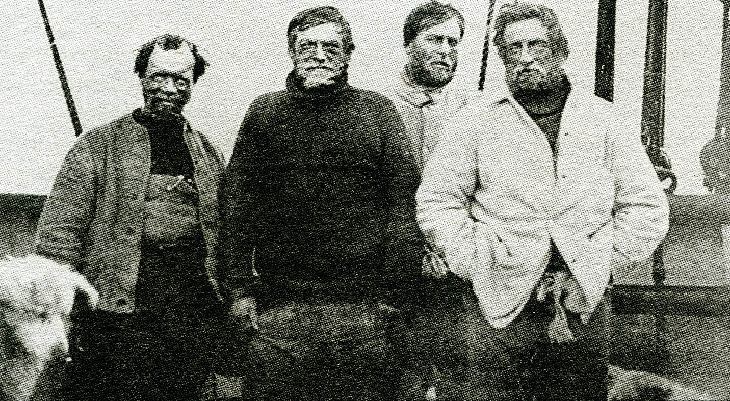 Polar explorer Sir Ernest Shackleton (second from left) and three members of his brave crew from   legendary Imperial Trans-Antarctic Expedition 1914-1917.