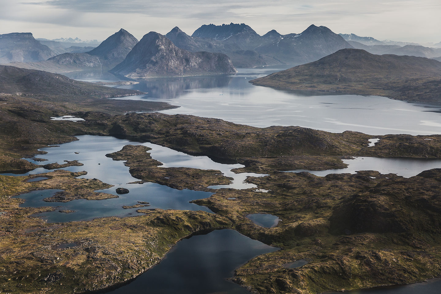 aerial photograph taken during a helicopter tour over South Greenland.