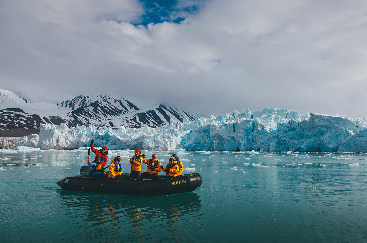 Quark Expeditions guests enjoy an off-ship cruises in Zodiacs, providing travelers with an immerse polar experience.