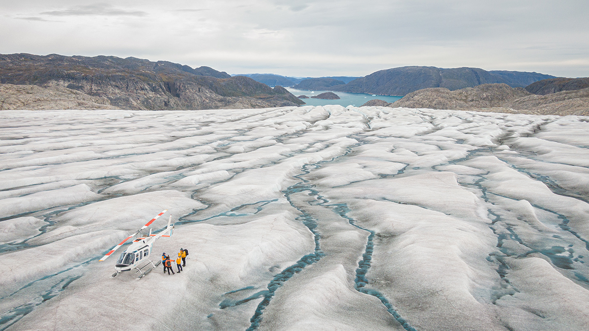 Thanks to Ultramarine's twin-engine helicopters, Quark Expeditions can enable guests to set foot on the famous Greenland Ice Sheet.