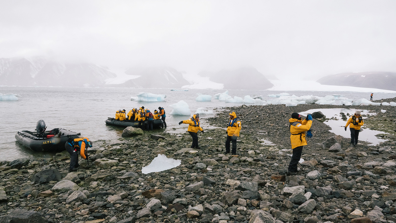Quark Expeditions guests on a shore landing to view glaciers at Ellesmere Island in Nunavut, which is also home to Baffin Island.
