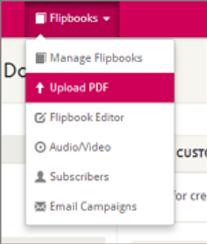 Flipbook menu - upload PDF