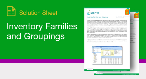 Inventory Families and Groupings