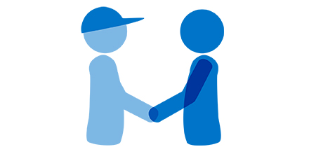 graphic of 2 people shaking hands