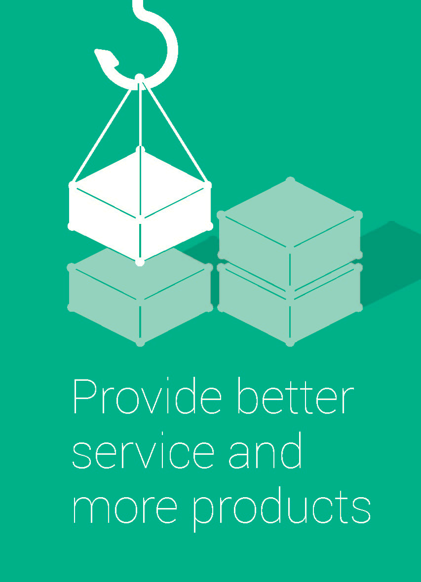 """graphic showing items being stacked saying """"provide better service and more products"""""""