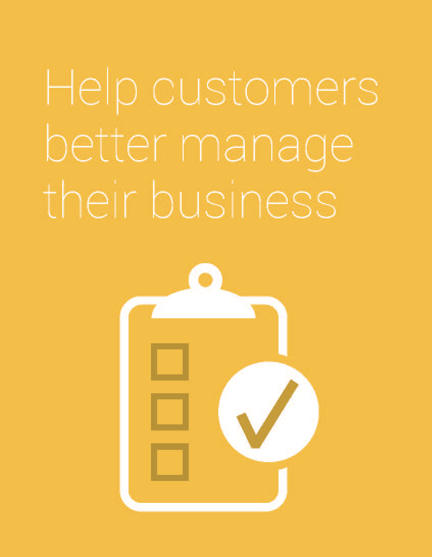 """yellow graphic of a clipboard with a checklist that says """"help customers better manage their business"""""""