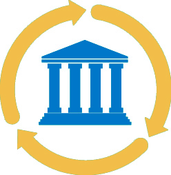 graphic showing a symbol of a bank inside arrows representing a cycle
