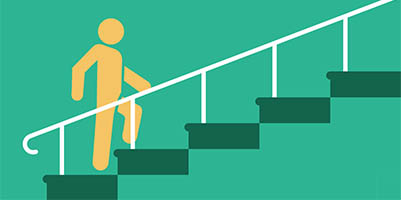 graphic of man walking up stairs or taking steps