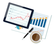 graphic showing colorful graphs on a tablet and on paper next to a cup of coffee
