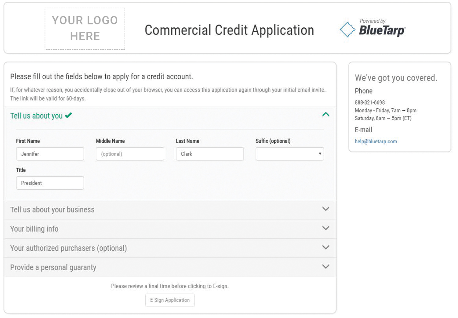 Included is an image example of BlueTarp's online commercial credit application