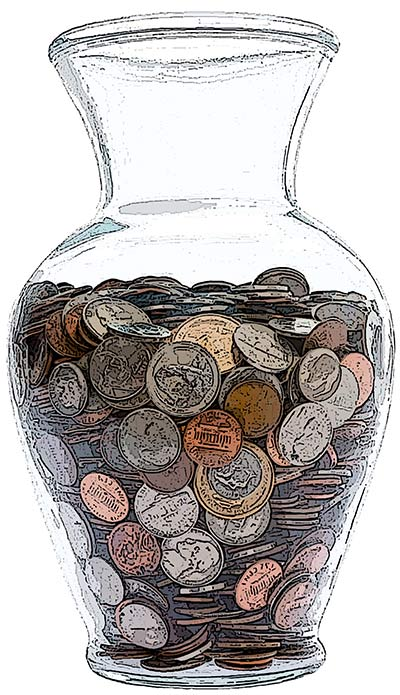 the change vase where we save our spare change