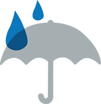 icon of an umbrella and water drops
