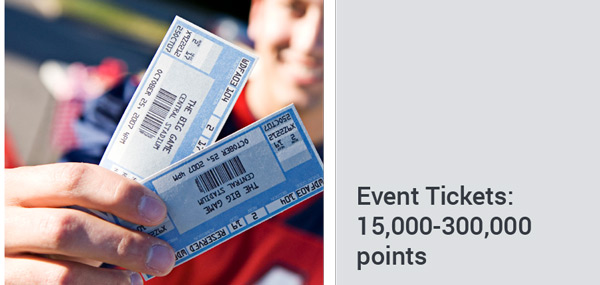 picture of event tickets - redemption packages 15,000-300,000 points