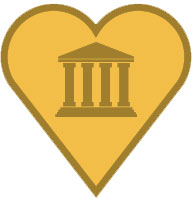 Image of a heart around the symbol of a bank