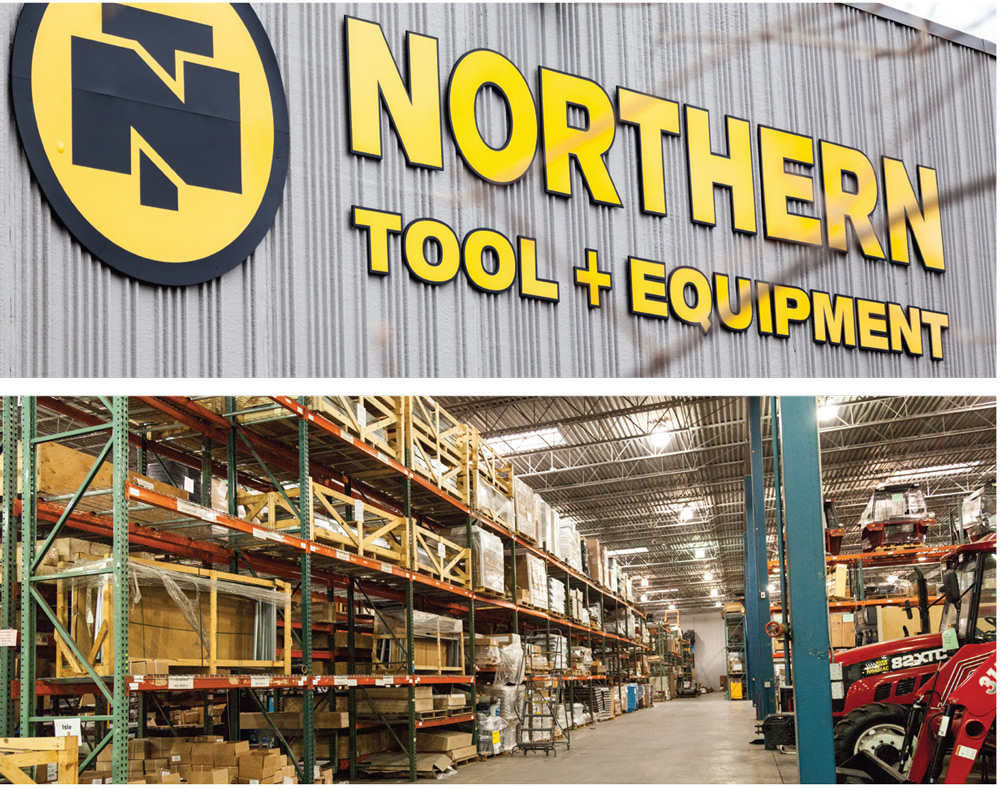2 photos, the first of Northern Tool and Equipment's logo outside of its warehouse, the second is a photo of their warehouse in Burnsville, MN