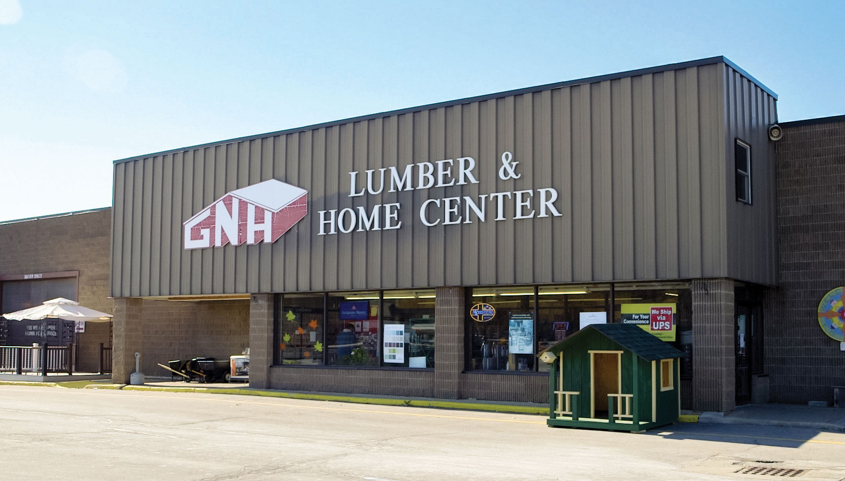 photo of the entrace to GNH's Lumber and Home Center