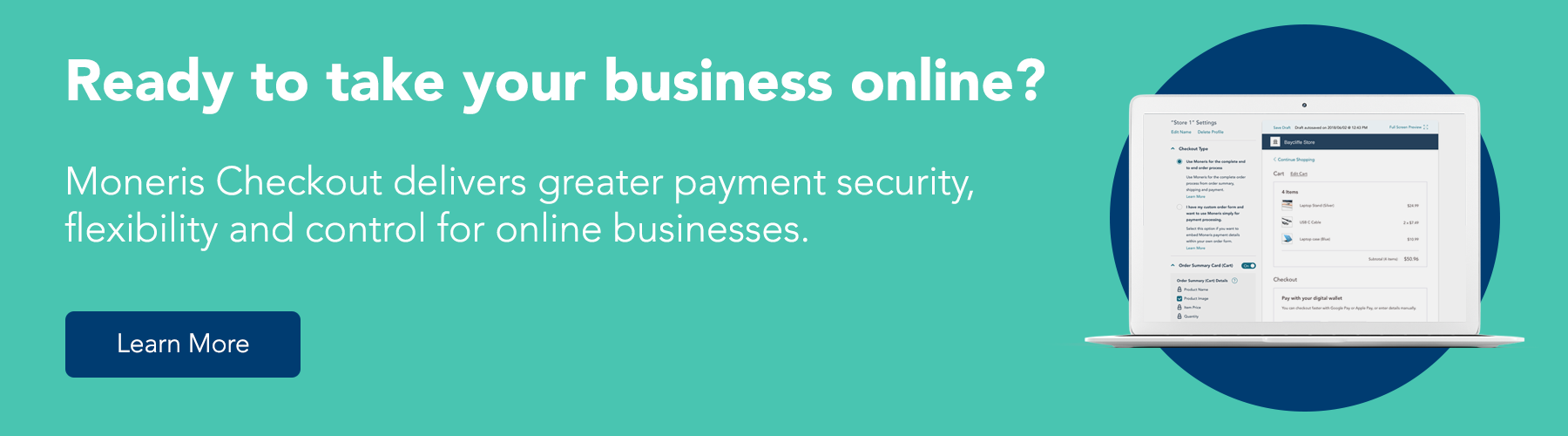 Ready to take your business online? Moneris Checkout delivers greater payment security, flexibility, and control for online businesses. Learn more.
