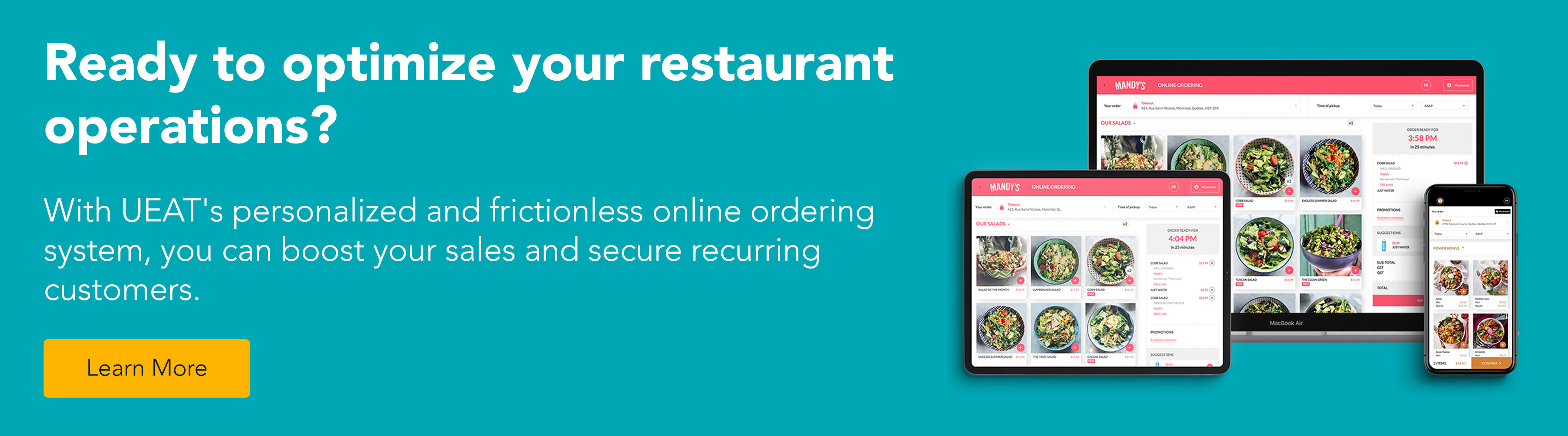 Ready to optimize your restaurant operations? With UEAT's personalized and frictionless online ordering system, you can boost your sales and secure recurring customers. Learn More.