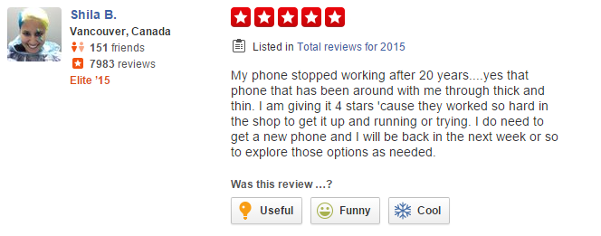 shila b yelp review of rogers plus in vancouver, excellent customer service