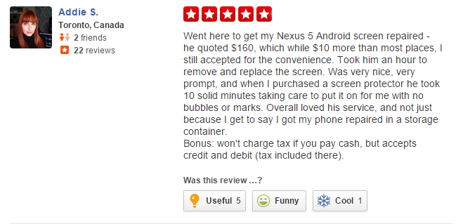 addie s yelp review of sellteck in toronto, excellent customer service reviews