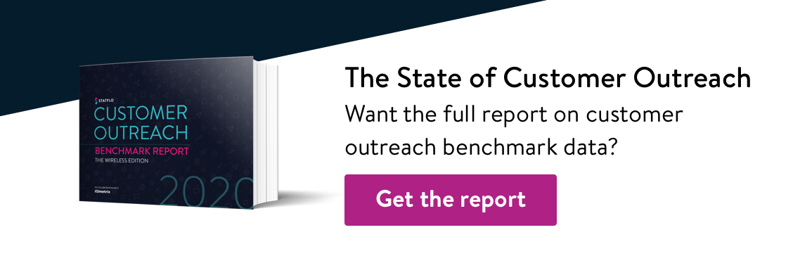 Download the full benchmark report on customer outreach in the wireless industry