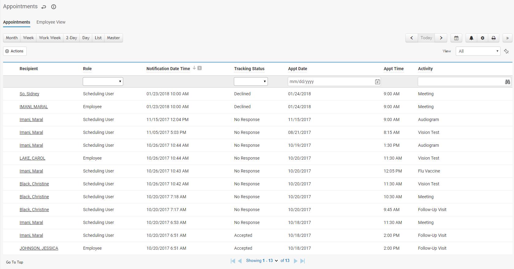 Appointments Module screenshot