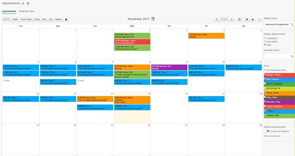 Appointments Module calendar