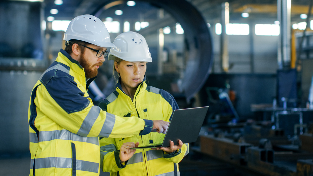 Safety software program being used by two engineers