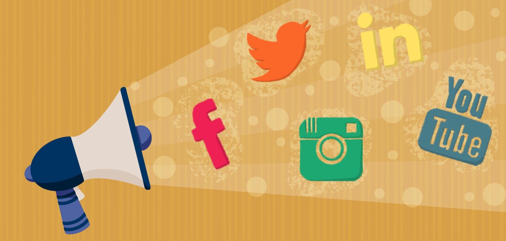 Megaphone blasting social media icons